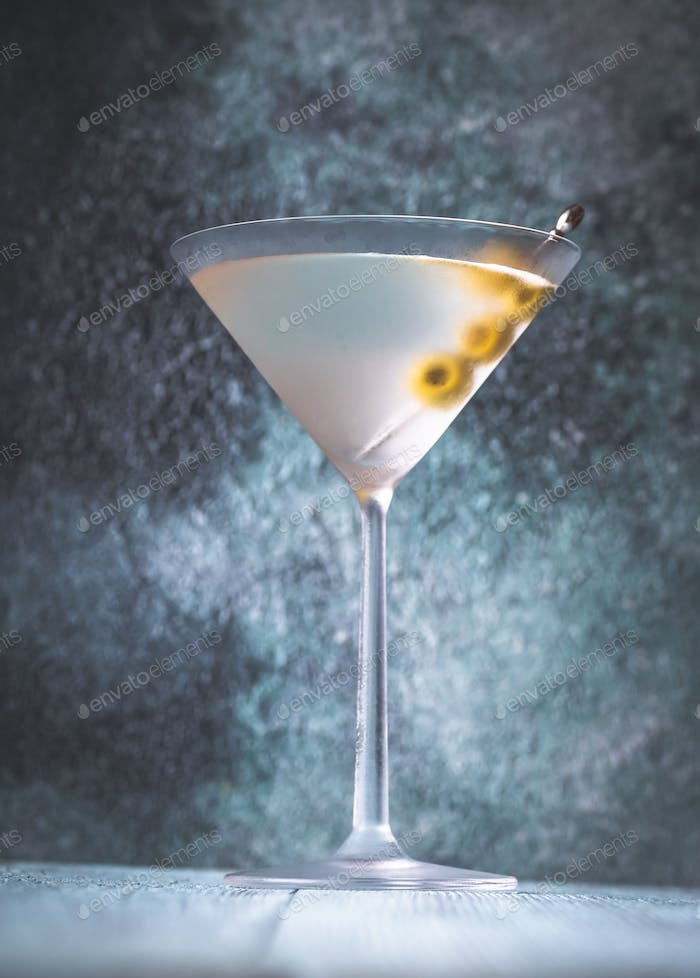 Glass of Dry Martini Cocktail