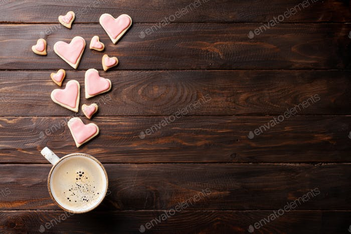 Valentines day heart cookies and coffee