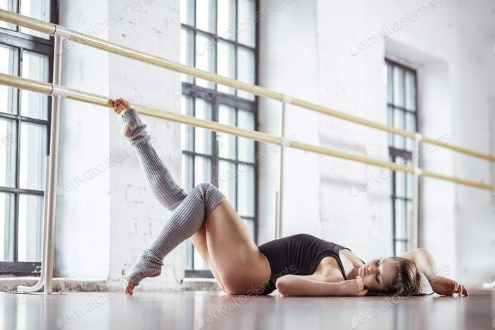 Attractive girl in a dance studio