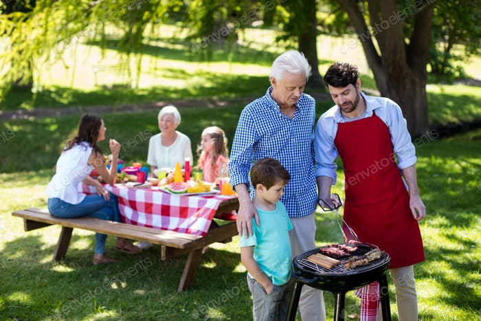 Grandfather, father and son barbequing in the park