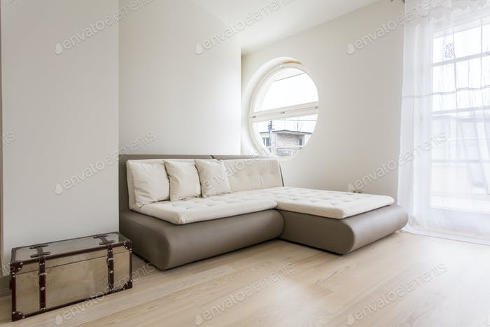 Bright room with sofa bed
