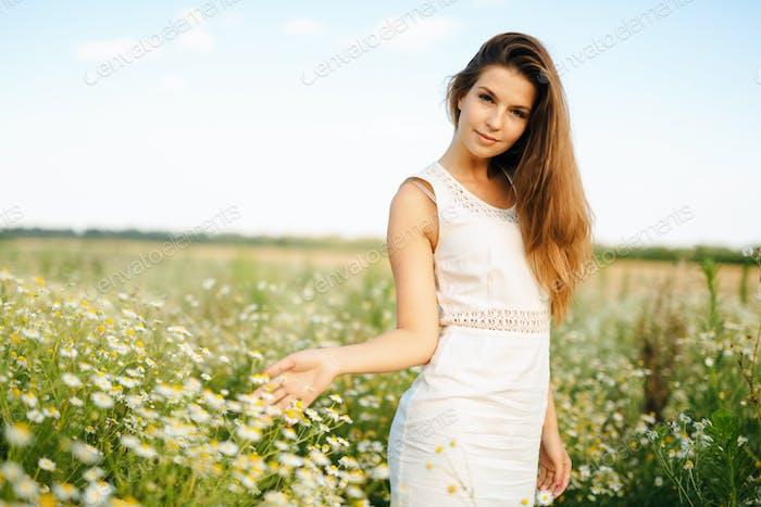 Beautiful woman in chamomile field posing