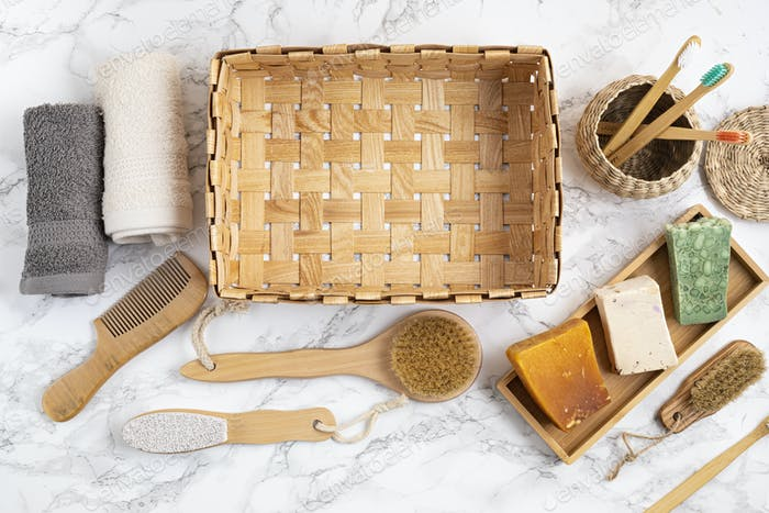 Zero waste bathroom kit. Set of eco friendly personal hygieny reusable accessories. Bamboo tooth