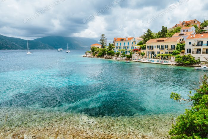 Fiskardo village with beautiful clouds above on Kefalonia Island, Greece