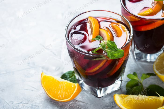 Sangria with fruit mint and ice.