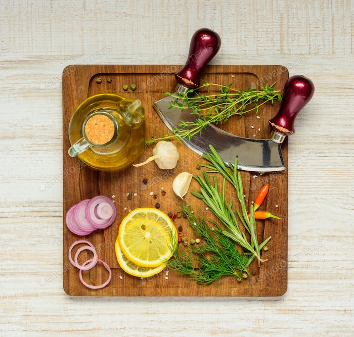 Cooking Ingredients on Wooden Board
