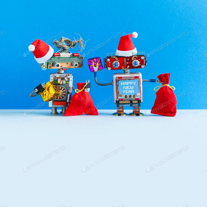 Merry Christmas happy New Year robotic greeting card