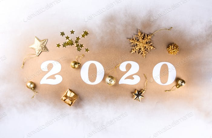 Happy New Year 2020 . Festive Shining  composition
