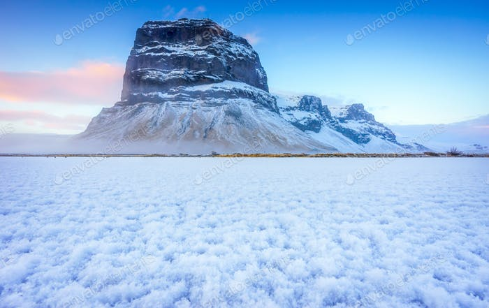 Timelapse of Lomagnupur mountain in Winter season, Iceland