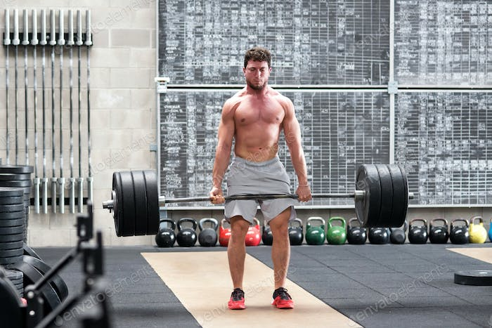Crossfit athlete doing a deadlift
