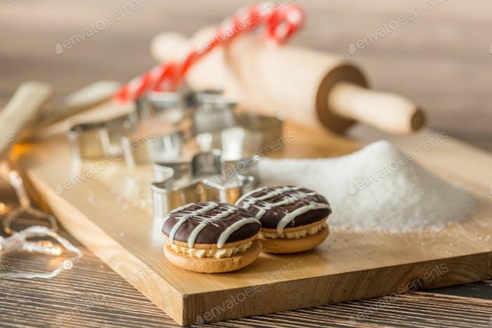 Worktop with baking utensils