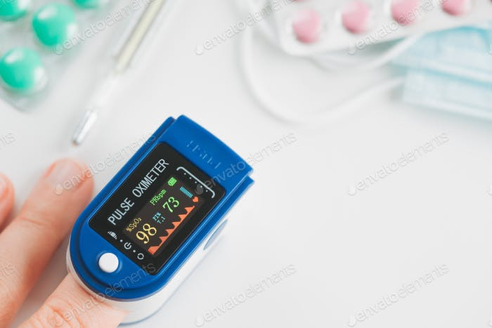 Pulse Oximeter finger digital device to measure oxygen saturation in blood.