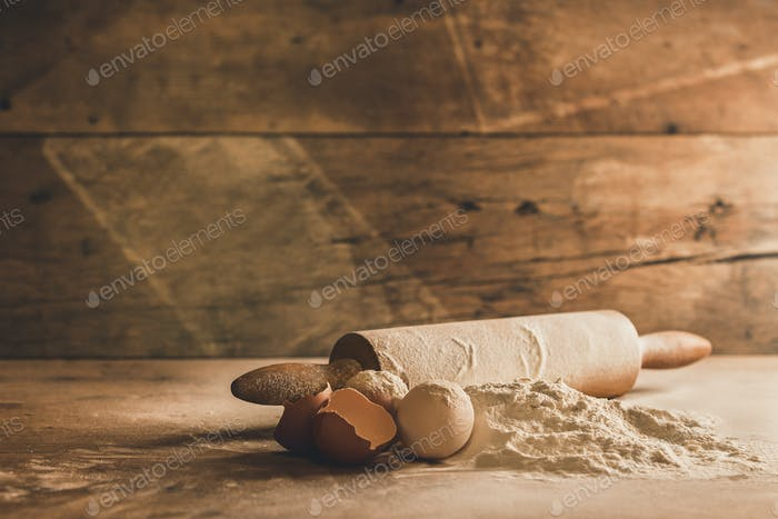 Close up of baking ingredients on wood