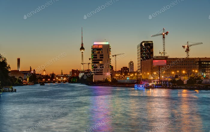 The River Spree in Berlin at sunset