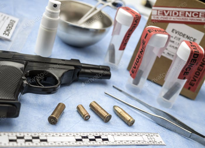 Criminalistic Laboratory, Bullet shell analysis, rule of ballistic measurement, conceptual image