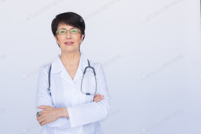 Doctor woman smile face with stethoscope over white background