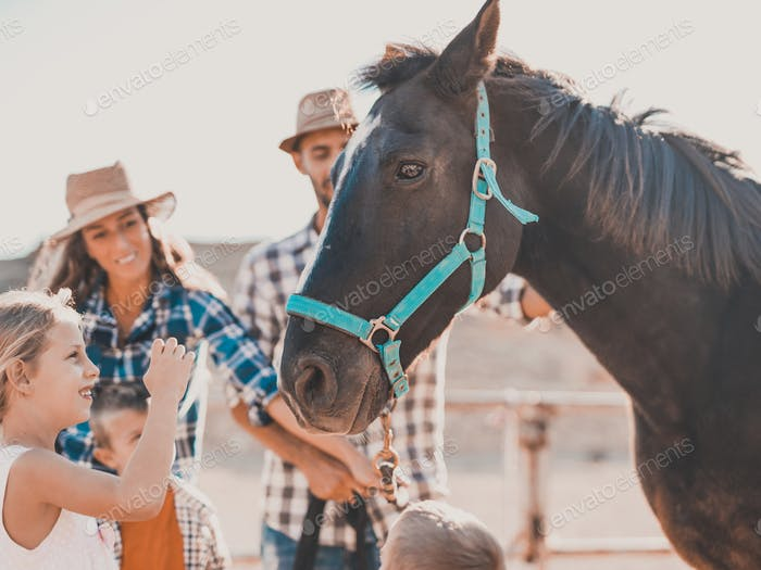 Happy family enjoy day outdoor at horse ranch - Parents and children - Animal love