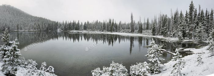 Sparks lake in a snowy day on June