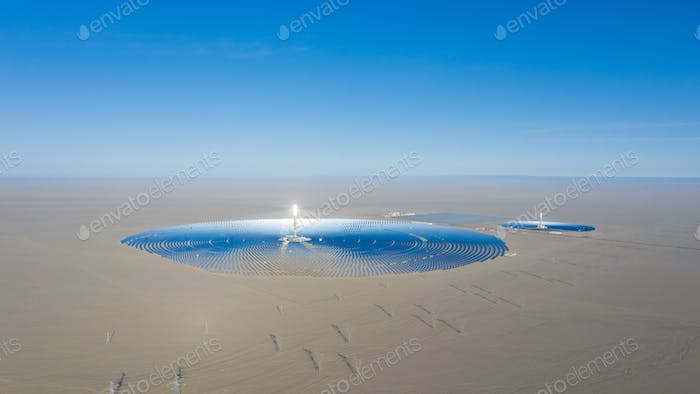 molten salt tower solar thermal power station panorama