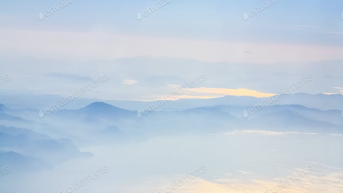above view of coastline of Aegean sea in sunrise