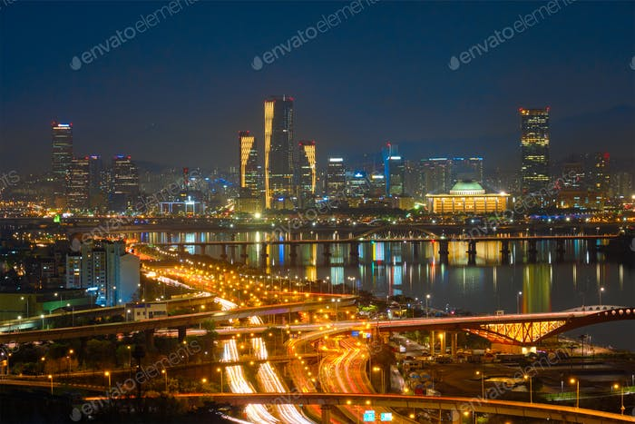 Seoul cityscape in twilight, South Korea