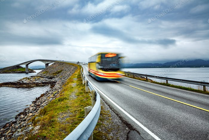 Public bus traveling on the road in Norway