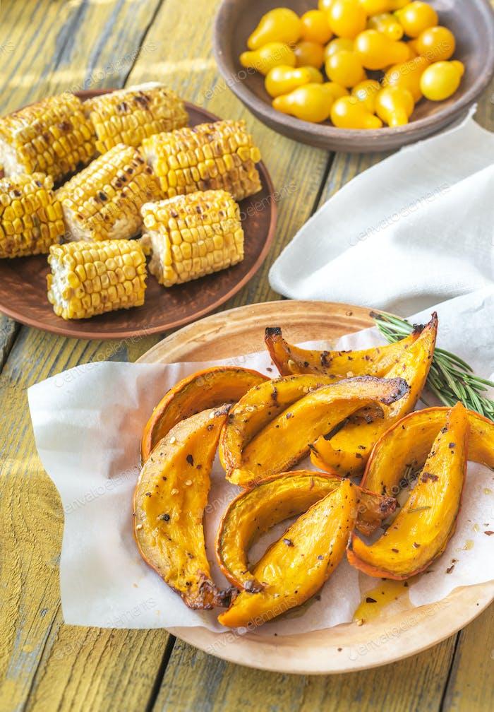 Set of yellow autumn vegetables