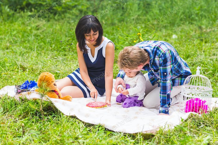 Happy Mixed Race Family Having a Picnic and Playing In The Park