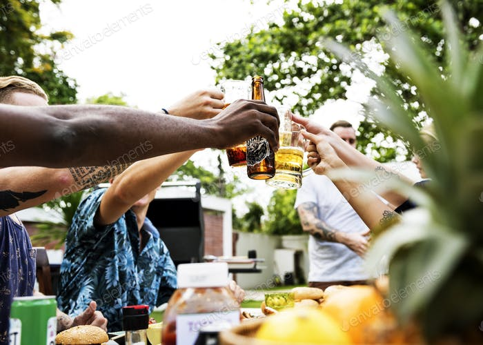 Group of diverse friends celebrating drinking beers together sum