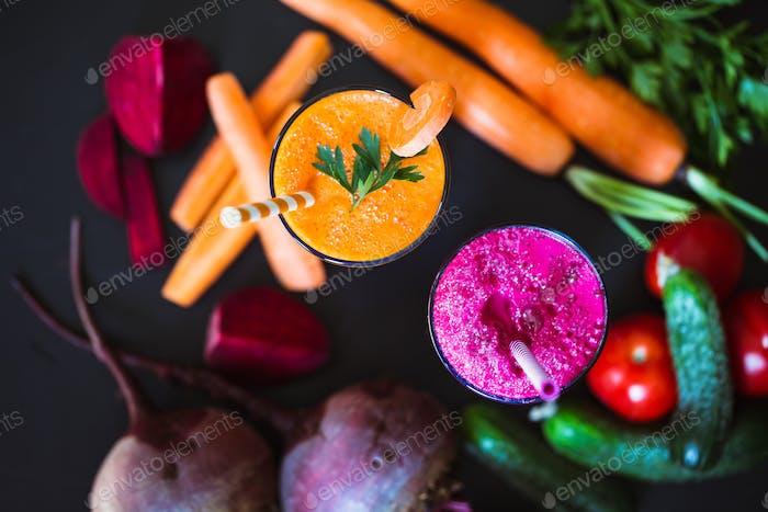 Freshly Made Vegetable Juices, Carrot, Beet. Vegetarian food. Healthy life.