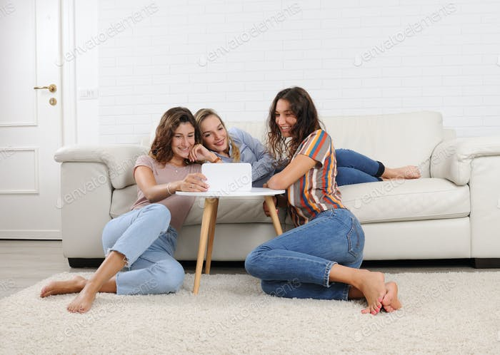 girls relaxing at home