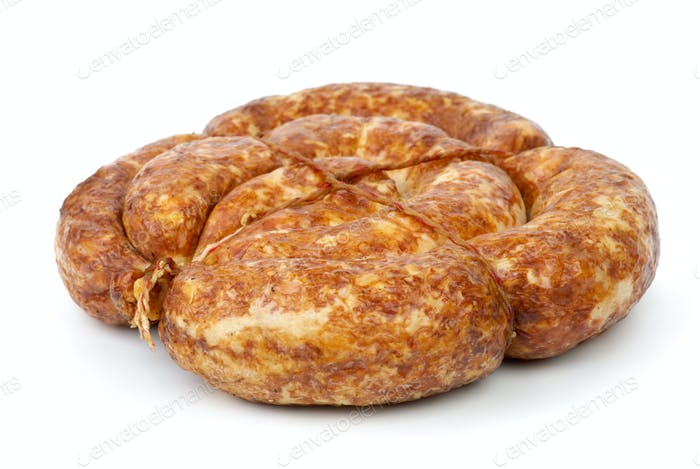 Grilled home-maded sausage isolated on the white background