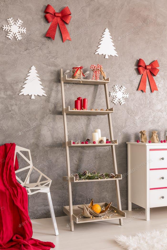 Christmas shelf in living room