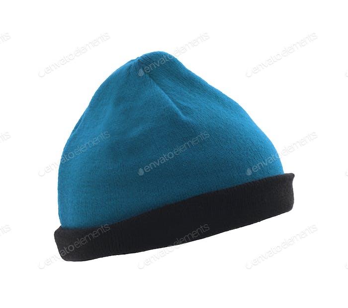 blue woolen winter hat isolated