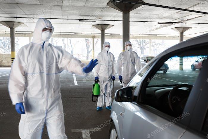 Medical worker in virus protective hazmat ban to leave