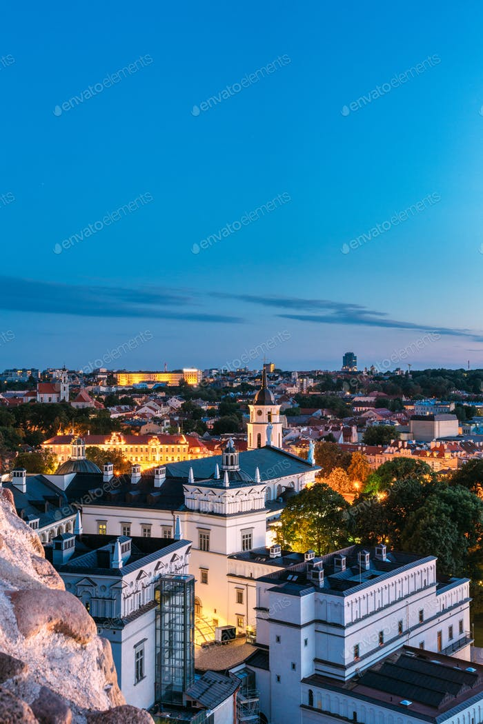 Vilnius, Lithuania, Eastern Europe. Aerial View Of Historic Center Cityscape In Blue Hour After