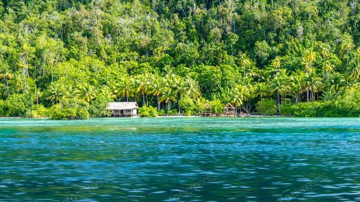 Homestay Bamboo hut on Monsuar Island. Raja Ampat, Indonesia, West Papua