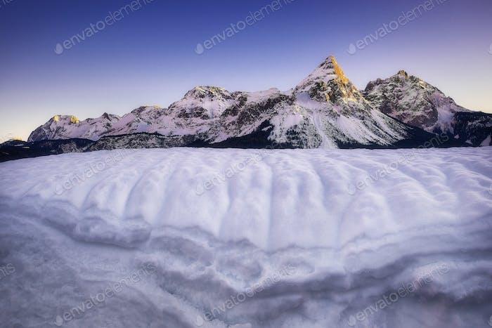 Amazing scene of Sonnenspitze mountain. Typical winter scene near Ehrwald, Tirol, Austria.
