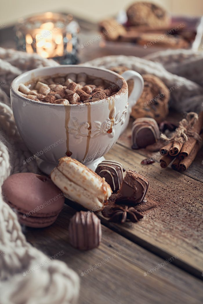Christmas or New Year composition with cocoa and sweets