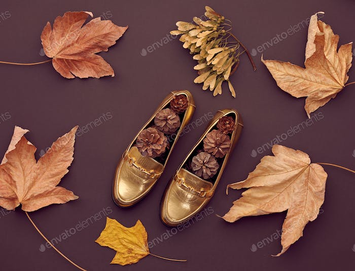 Autumn Arrives.Fashion Minimal.Retro.Fall Leaves