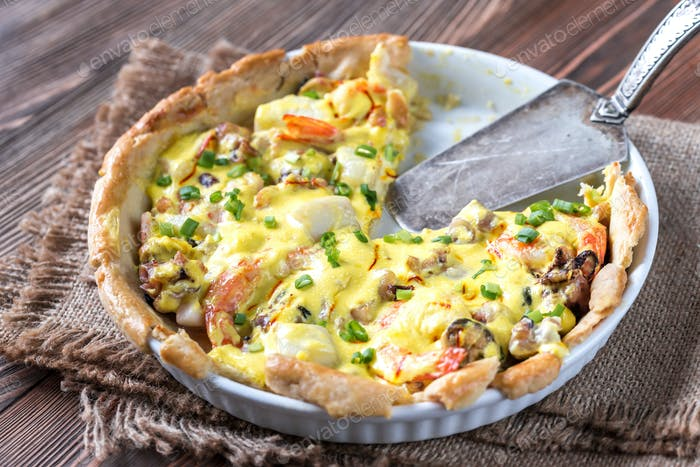Seafood pie with saffron cream sauce