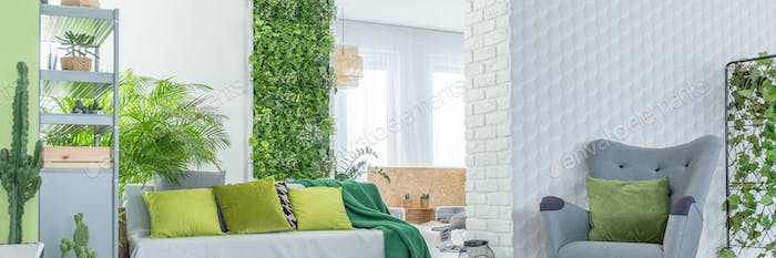 White brick wall and plants