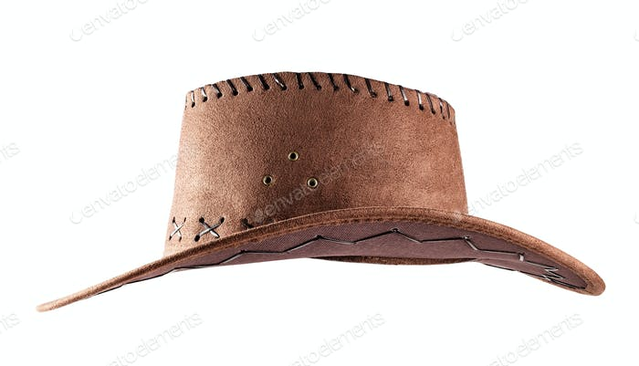 Leather cowboy hat shot side