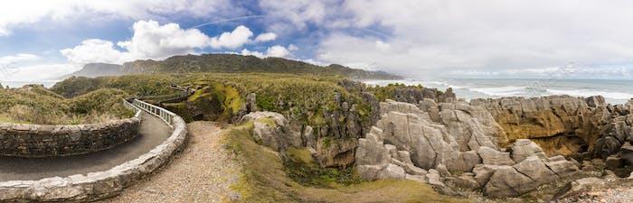 Punakaiki Pancake Rocks with blowholes in the Paparoa National P
