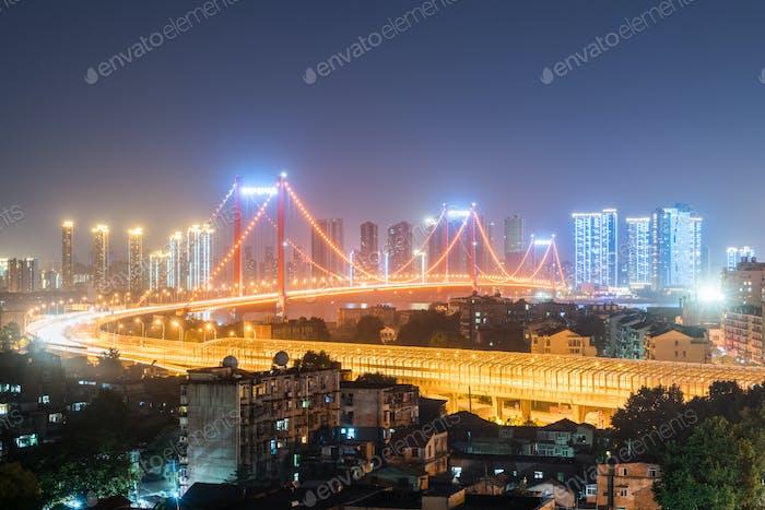 wuhan suspension bridge at night