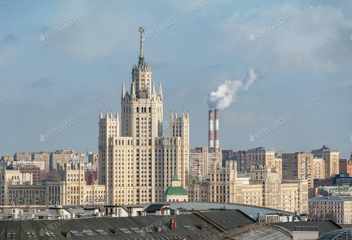 Stalinist skyscrapers. Architectural landmark of the Moscow in Russia