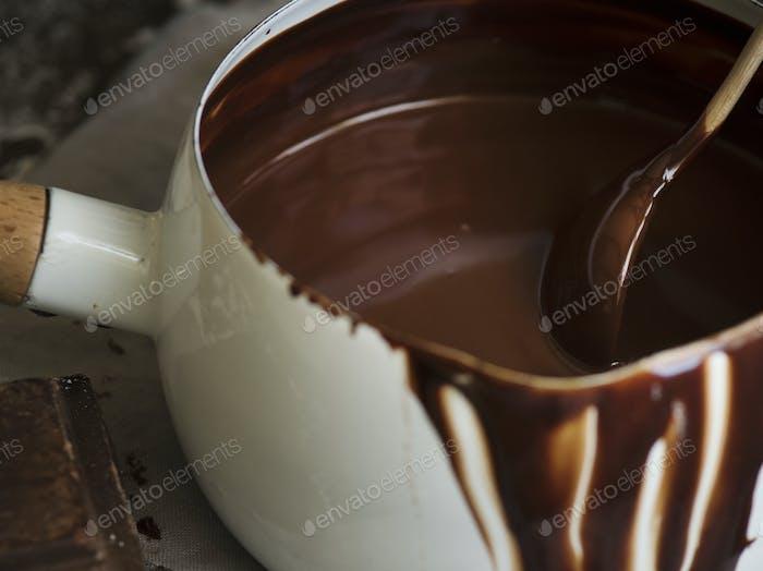 Dark chocolate sauce food photography recipe idea