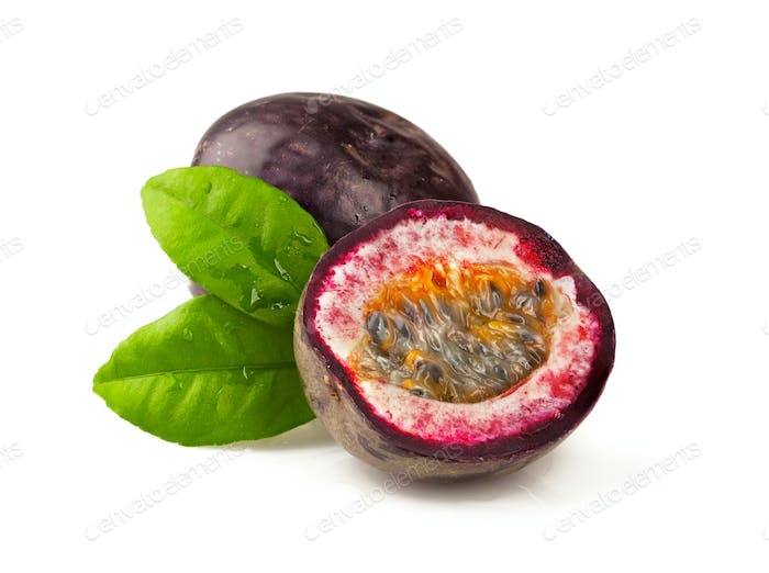 Ripe passion fruit  on white background. Maracuya.