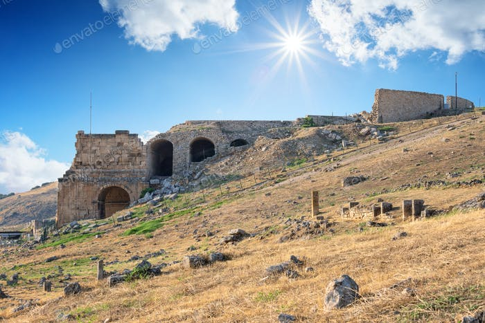 Ancient city of Hierapolis under the bright sun