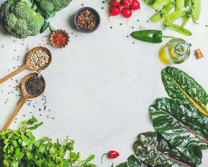 Healthy vegetables, greens and grains, copy space, top view